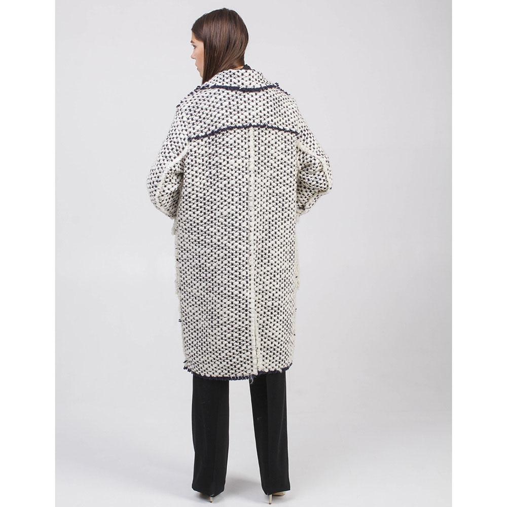 Буклированное пальто Rochas черно-белое