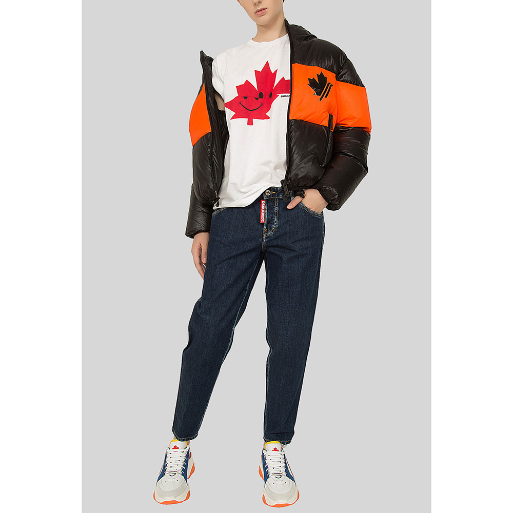 Черная куртка Dsquared2 с оранжевым декором