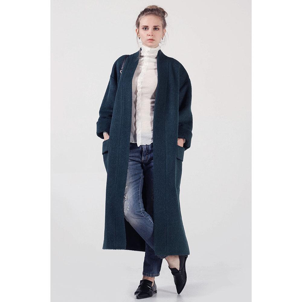 Зеленое мохеровое пальто The Body Wear с утеплителем