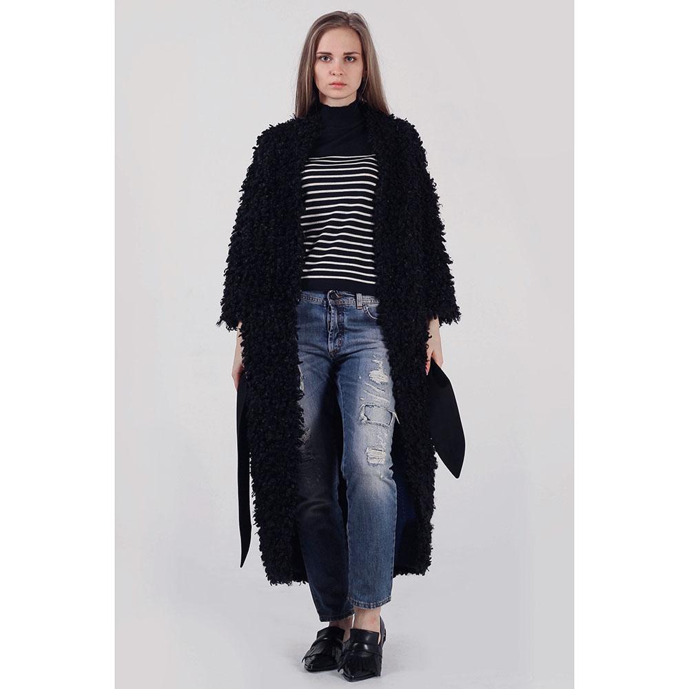 Зимнее пальто-халат The Body Wear из черного эко-каракуля