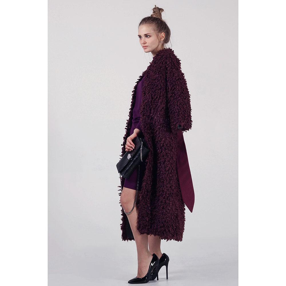 Зимнее пальто-халат The Body Wear из бордового эко-каракуля
