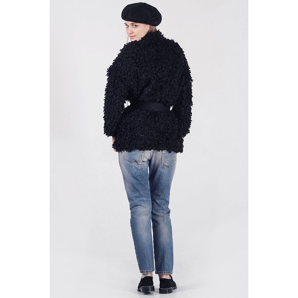 Короткое зимнее пальто The Body Wear из черного эко-каракуля