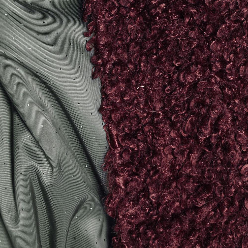 Короткое зимнее пальто The Body Wear из бордового эко-каракуля