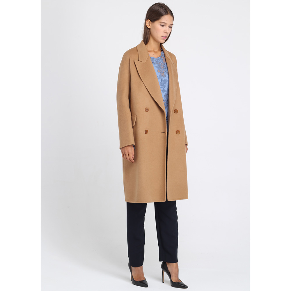 Пальто Ermanno Scervino прямого кроя бежевого цвета