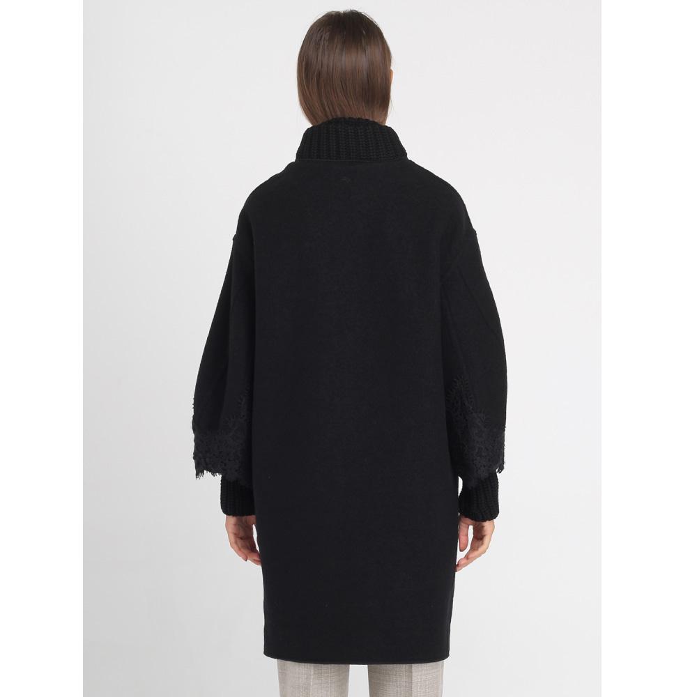Пальто Ermanno Scervino черного цвета с кружевной отделкой
