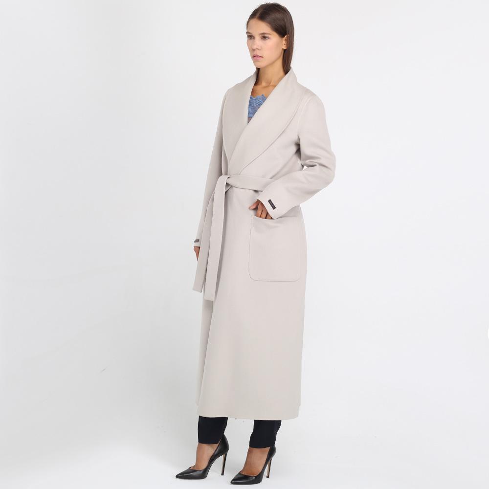 Шерстяное пальто Peserico серого цвета на запах