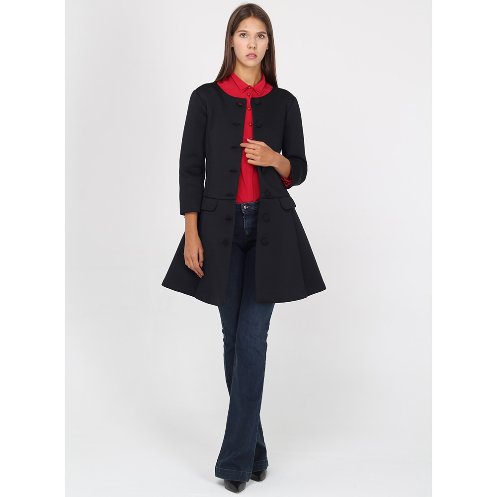 Пальто Emporio Armani на пуговицах с юбкой-трапецией