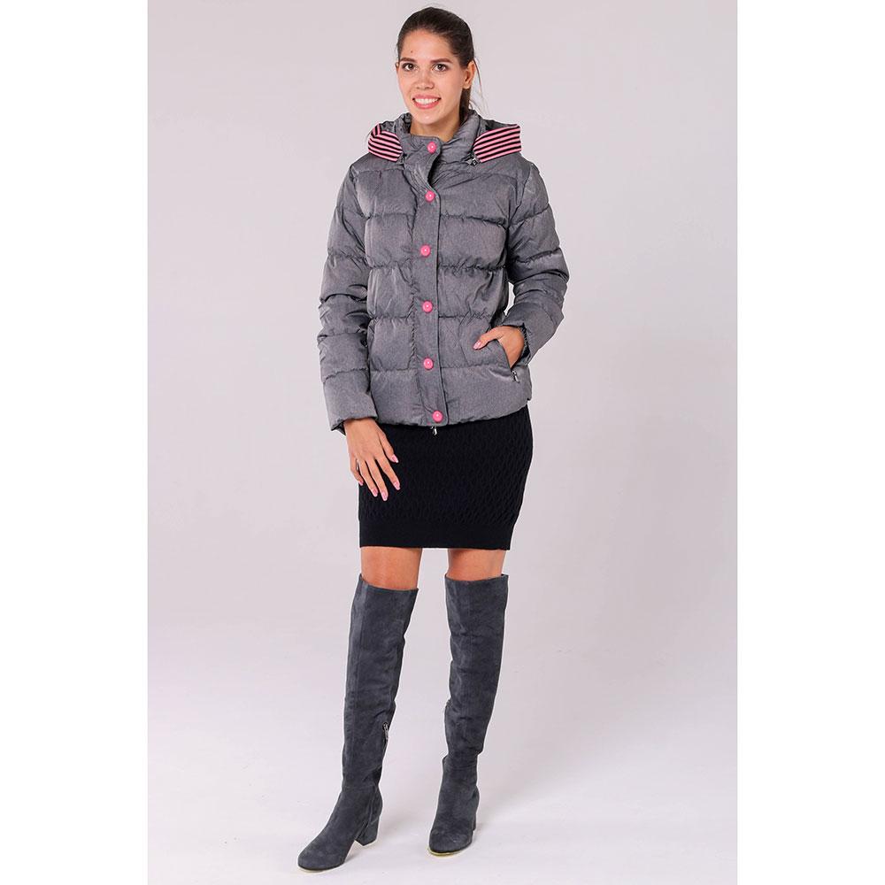 Серая стеганая куртка Emporio Armani с розовыми пуговицами