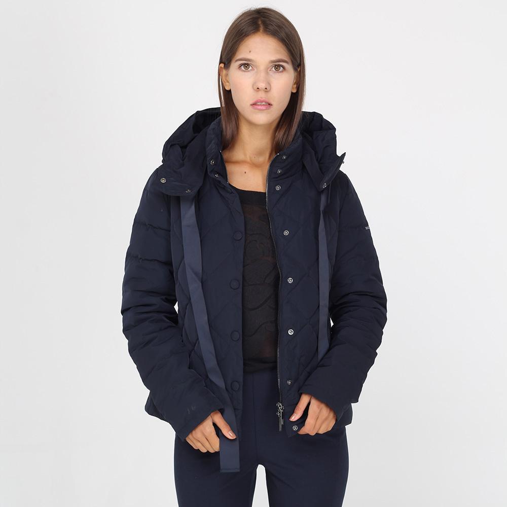 Стеганая куртка Armani Jeans темно-синего цвета с завязками-ленточками