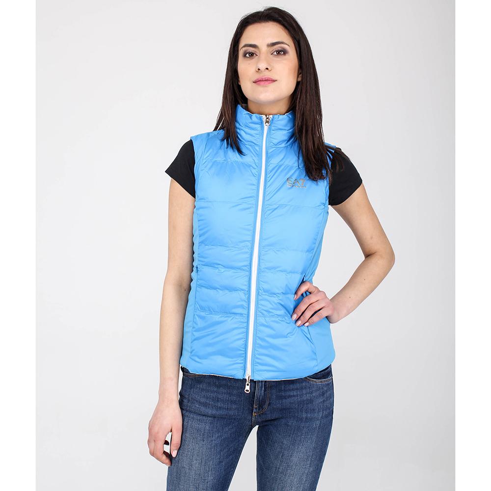 Пуховый жилет Ea7 Emporio Armani голубого цвета