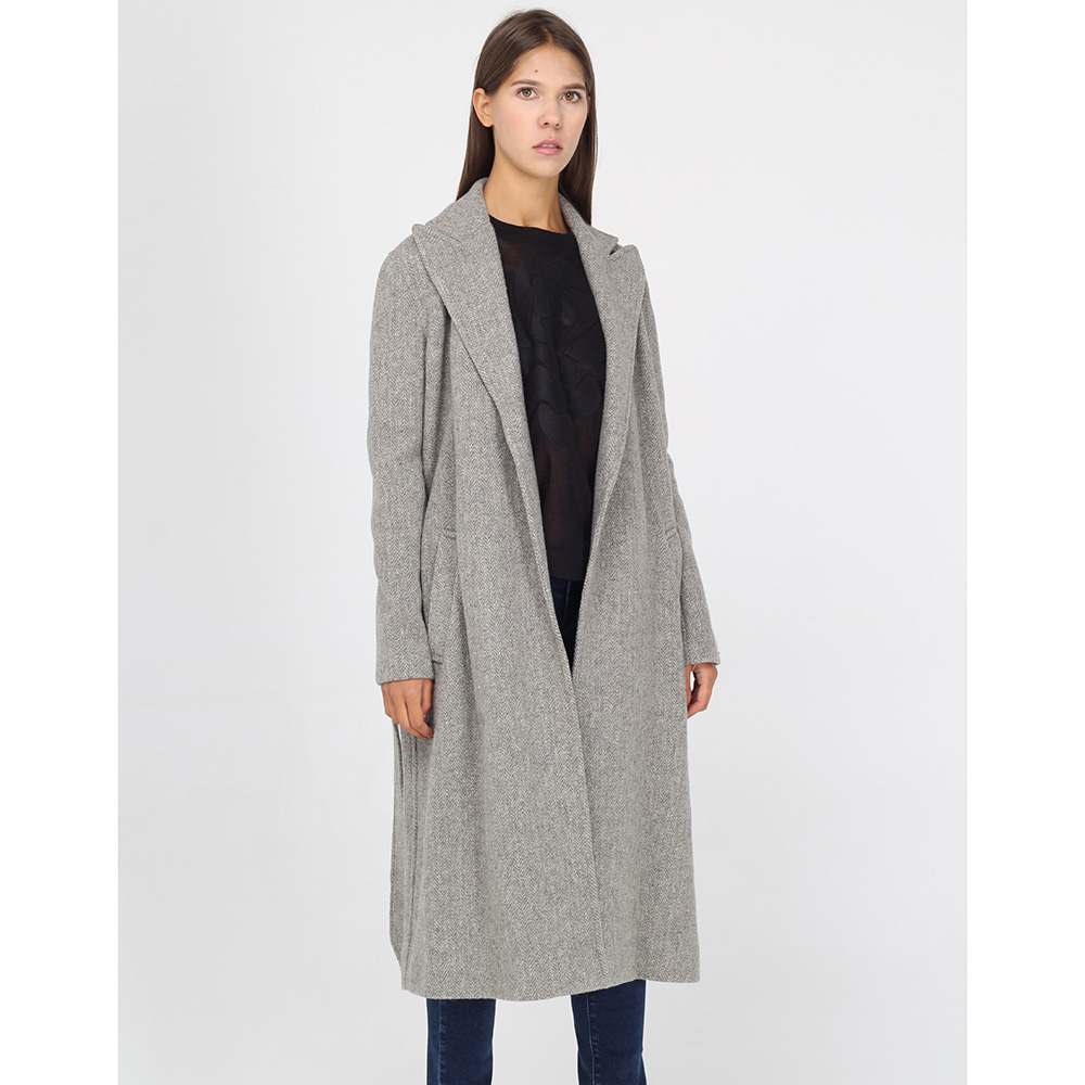 Шерстяное пальто Polo Ralph Lauren серого цвета на запах