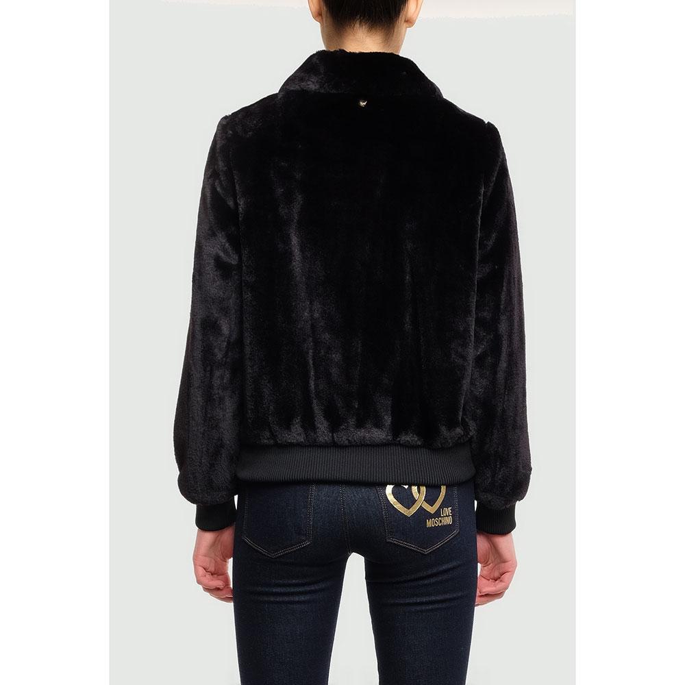Черная куртка Twin-Set из искусственного меха