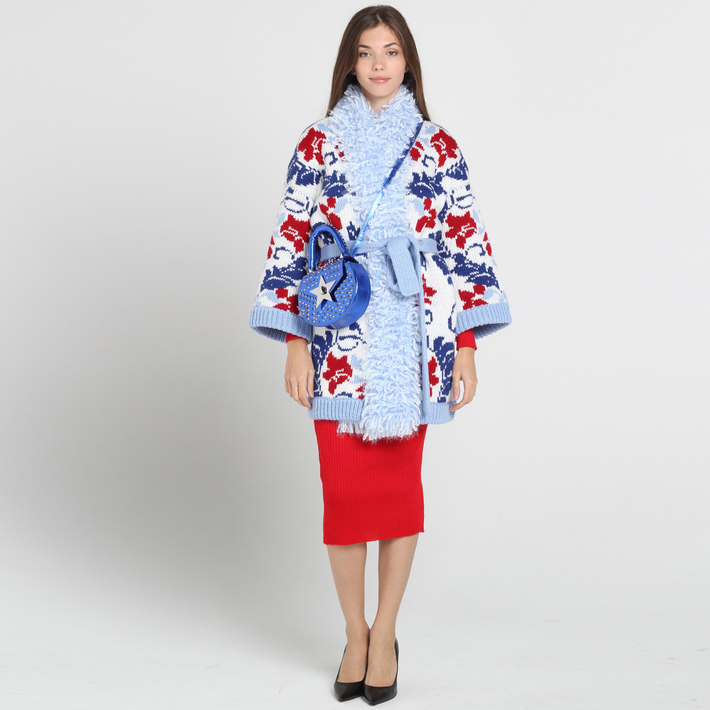 Вязаное пальто Nit.ka до колен с флористическим узором