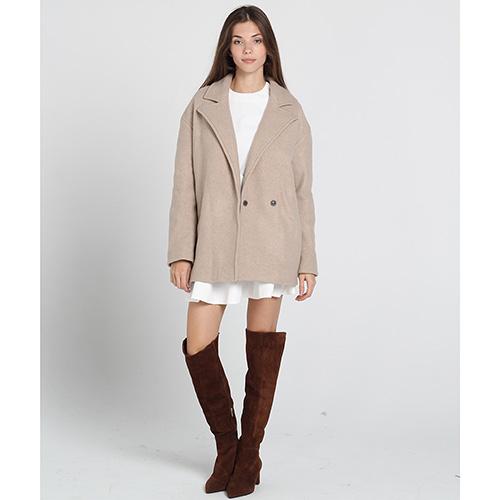 Короткое пальто Kristina Mamedova из шерсти бежевого цвета, фото