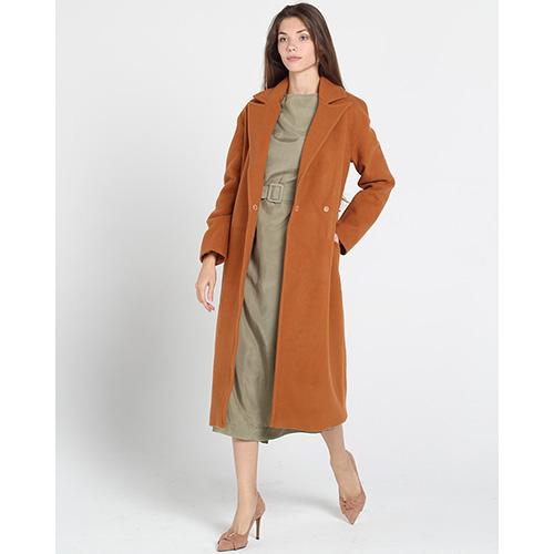 Оранжевое пальто Kristina Mamedova с поясом на запах, фото