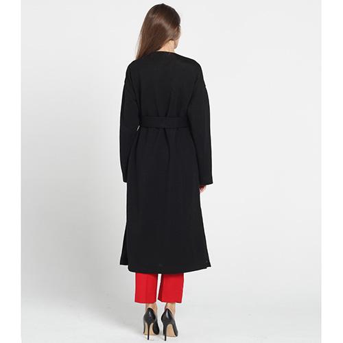 Черное пальто Kristina Mamedova с поясом на запах, фото