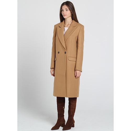 Двубортное пальто прямого кроя Kristina Mamedova коричневого цвета, фото