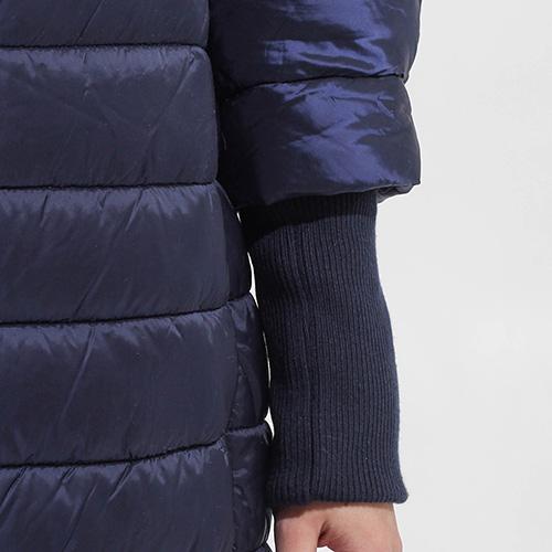 Стеганная синяя куртка Sandro Ferrone с воротником-стойкой, фото