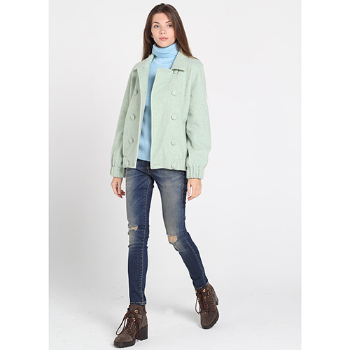 Шерстяная куртка на пуговицах Kristina Mamedova мятного цвета, фото