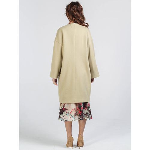 Пальто из шерсти Shako фисташкового цвета с накладными карманами, фото