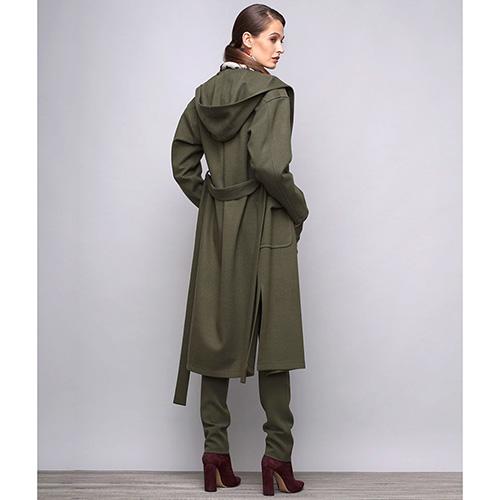 Пальто с капюшоном Shako из шерсти цвета хаки, фото