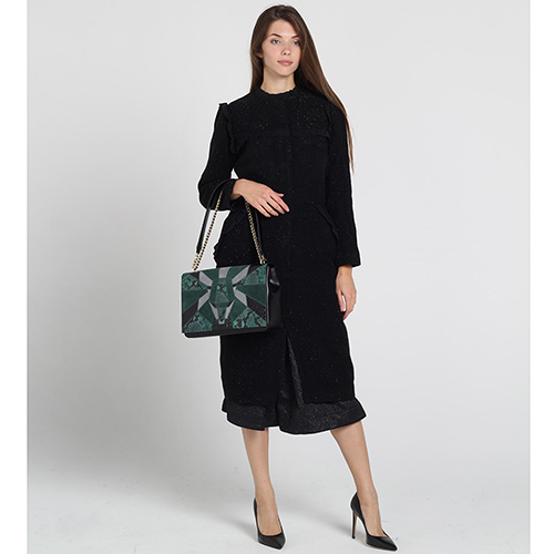 Черное приталенное пальто Kristina Mamedova с отделкой-рюшами, фото