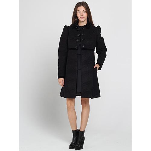 Черное пальто Kristina Mamedova с расклешенным низом, фото