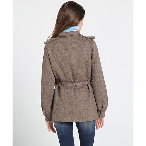 Серое пальто Kristina Mamedova из шерсти с поясом, фото