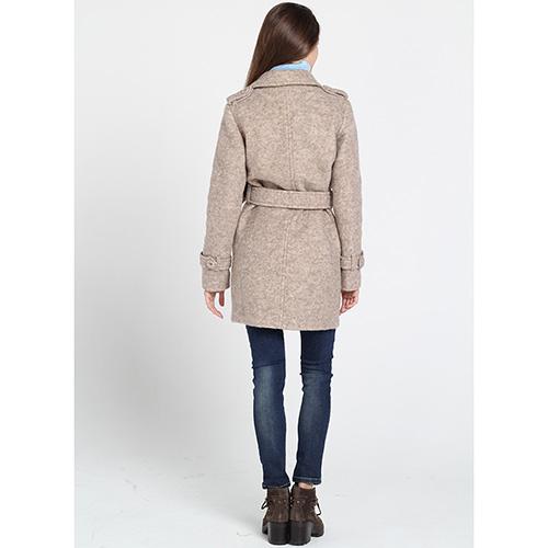 Короткое двубортное пальто Kristina Mamedova бежевого цвета, фото