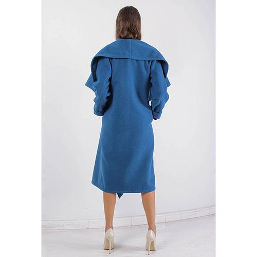 Пальто Plein SUD синего цвета с широким воротником, фото