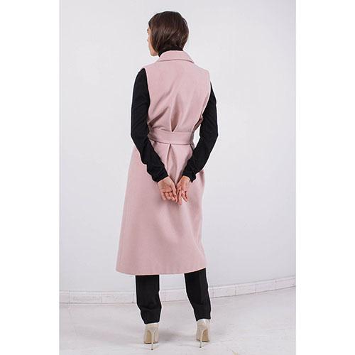 Пальто без рукавов FOREVER UNIQUE бежевого цвета с запахом, фото
