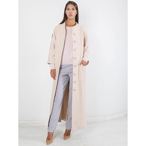 Длинное пальто Forever Unique бежевого цвета с накладными карманами, фото