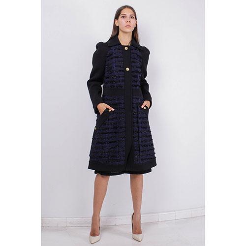 Пальто Blumarine синего цвета с юбкой-трапецией, фото