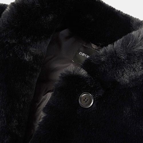 Черная шуба Emporio Armani из экомеха с карманами, фото