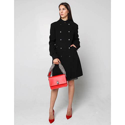 Двубортное пальто Fornarina черного цвета, фото