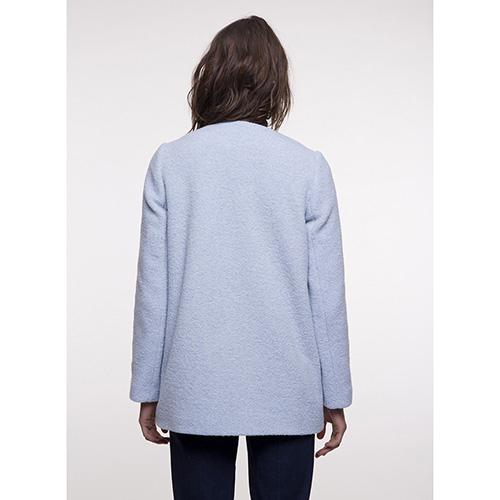 Короткое пальто Trench & Coat без воротника голубого цвета, фото
