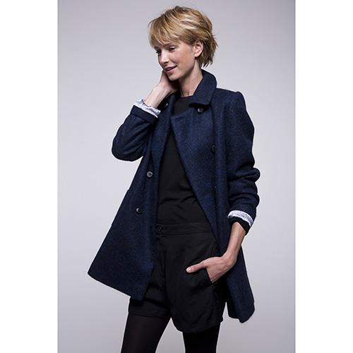 Двубортное пальто Trench & Coat с расширенным силуэтом синего цвета, фото