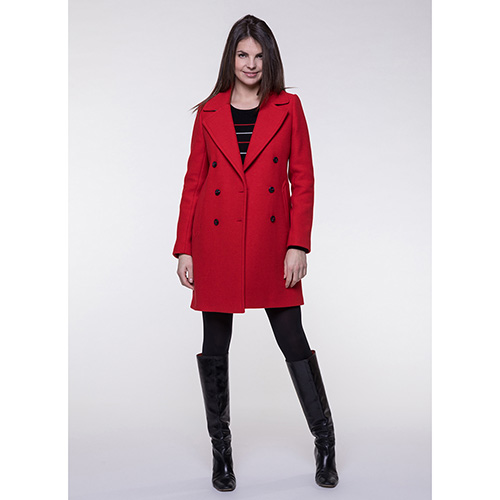 Пальто двубортное Trench & Coat красного цвета, фото