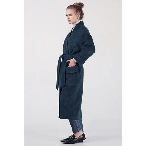 Зеленое мохеровое пальто The Body Wear с утеплителем, фото