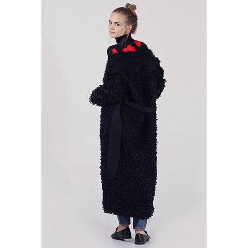 Зимнее пальто-халат The Body Wear из черного эко-каракуля, фото