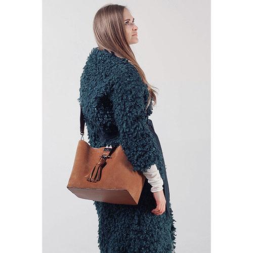 Зимнее пальто-халат The Body Wear из зеленого эко-каракуля, фото