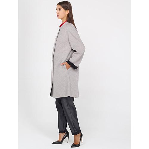 Шерстяное пальто Emporio Armani серое, фото