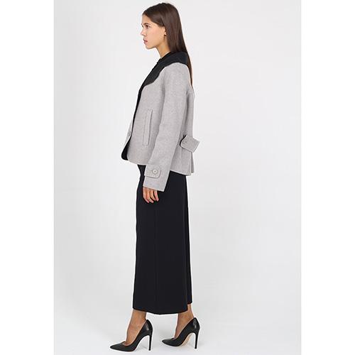 Короткое пальто Emporio Armani серое с черным воротником, фото