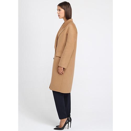 Пальто Ermanno Scervino прямого кроя бежевого цвета, фото