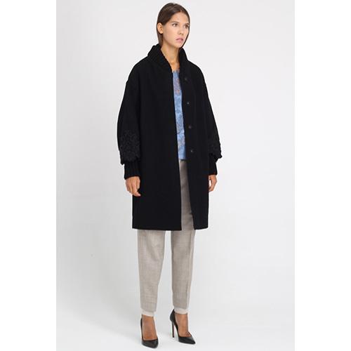 Пальто Ermanno Scervino черного цвета с кружевной отделкой, фото