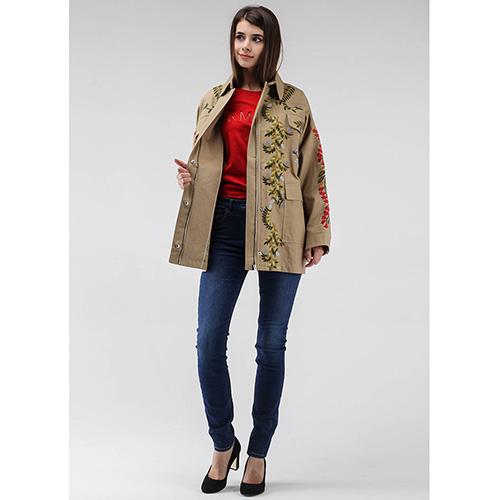 Куртка с накладными карманами Red Valentino бежевого цвета с флористической вышивкой, фото