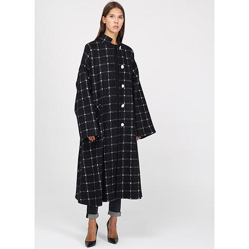 Пальто-миди Emporio Armani черное в белую клетку, фото