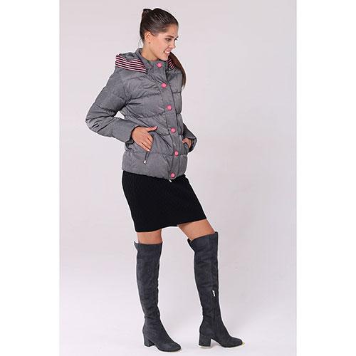 Серая стеганая куртка Emporio Armani с розовыми пуговицами, фото