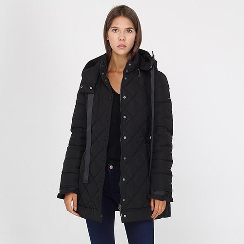 Стеганая куртка Armani Jeans черного цвета на кнопках, фото