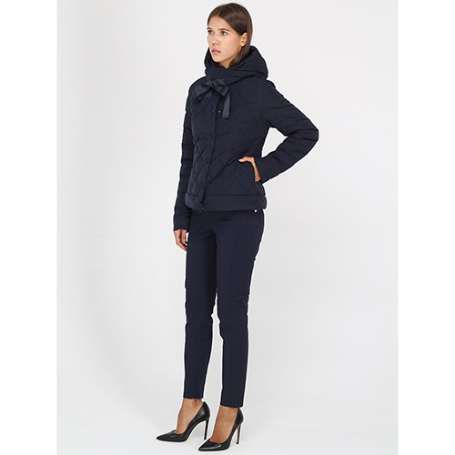 Стеганая куртка Armani Jeans темно-синего цвета с завязками-ленточками, фото